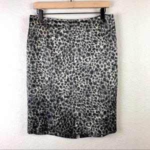 Ann Taylor Silk Blend Leopard Print Pencil Skirt